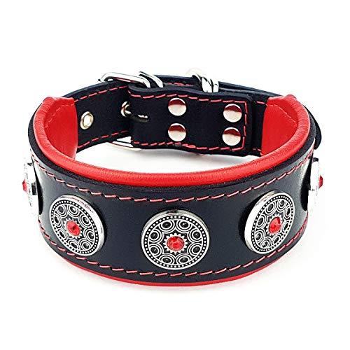 Bestia Bijou Hundehalsband mit Zierconchos. 100% Leder. Weich gepolstert. Handgefertigt in Europa!
