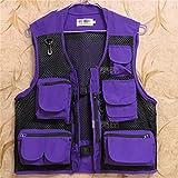 Chaleco Multibolsillos Transpirable de Malla para Hombres Chaleco de fotografía de Pesca con Mosca para viajeros al Aire Libre Purple 3XL