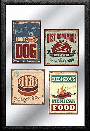empireposter – American Legends – Fast Food – Dimensions (cm), env. 20 x 30 – Miroir imprimé – Description : – Mural Miroir imprimé avec Cadre en Plastique Effet Bois Noir -
