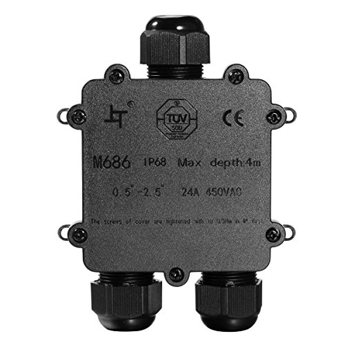 Zacfton Abzweigdose IP68 Wasserdicht Kabelverbinder Aussen, Größere 3-Wege-Verbindungsdose Erdkabel Schwarz Elektrischer Außenverteilerdose, M25 Kabelverschraubung Ø 4mm-14mm, ABS + PVC