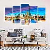 KOPASD Cuadros Modernos Impresión de Imagen Artística Digitalizada | Lienzo Decorativo para Tu Salón o Dormitorio | Horizonte de la Ciudad de Frankfurt | 5 Piezas 150x80cm