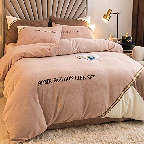 Shinon double teddy bear duvet set,Winter thick warm double-sided flannel bedding duvet cover sheet bed sheet pillowcase-H_Four 2.0m beds