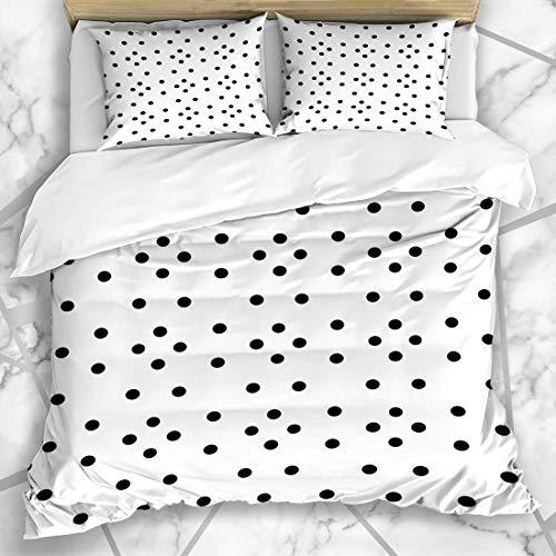 Conjuntos de funda nórdica Cortinas inusuales Rondas negras Repetición de moda Blanco Pequeño gráfico Polka 90S Dot Interiors Texturas Microfibra suave Dormitorio decorativo con 2 fundas de al