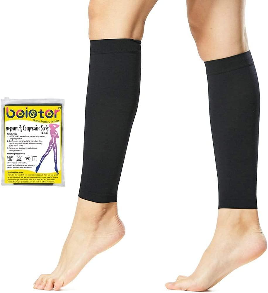 Beister 1 Pair Compression year warranty Indianapolis Mall Calf Cal Sleeves Perfect 20-30mmHg