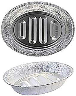 eDayDeal Disposable Turkey Roasting Pans Extra Large, Heavy-Duty Aluminum Foil   Deep, Oval Shape for Meat, Chicken, Roasts, Ribs, Cooking   Recyclable (2)