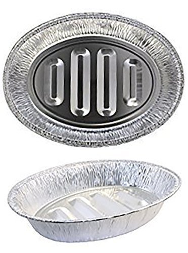 eDayDeal Disposable Turkey Roasting Pans Extra Large, Heavy-Duty Aluminum Foil | Deep, Oval Shape for Meat, Chicken, Roasts, Ribs, Cooking | Recyclable (8)