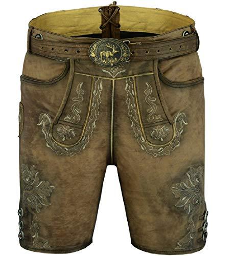 Royal GmbH Glattleder Lederhose Kurze Herren Trachten Lederhose neu Vintage Trachtenlederhose Größe 44-64 (64)