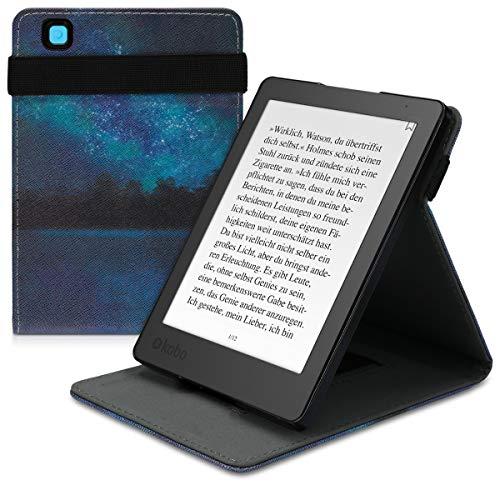 kwmobile Custodia Verticale e-Reader Compatibile con Kobo Aura Edition 2 - con Fascia e leggìo - Flip Case in Pelle PU - Acqua e Luna Blu/Nero