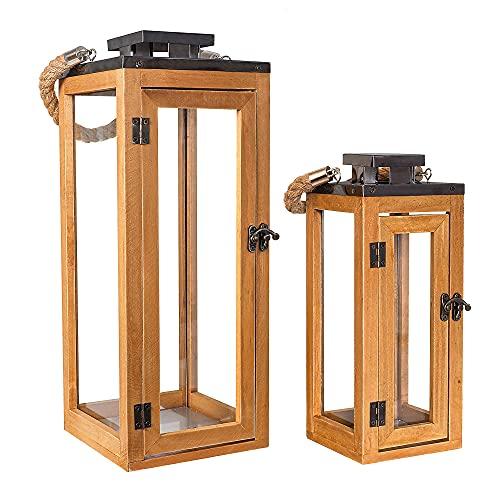 Gadgy Holzlaternen Set 2 Glas Bild