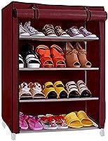 Ebee Store Shoe Rack with 4 Shelves (Maroon)