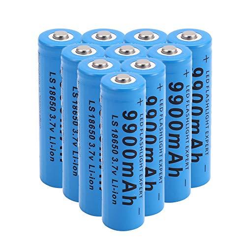 18650 recargables batería de litio pilas alcalinas 9900 mAh 3.7 V Li-ion cargador baterías de 1000 ciclos larga vida a prueba de fugas para linterna, radio remoto 10Pcs