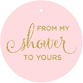 Andaz Press Baby and Bridal Wedding Shower Round Circle Party Favor Gift Tags, from My Shower to Yours, Blush Pink Gold Glitter Print, 24-Pack