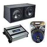 Harmony Audio HA-RD12 Car Rhythm Loaded Dual 12' Vented 1200W Sub Box Bundle with HA-A400.1 Amplifier & Amp Kit