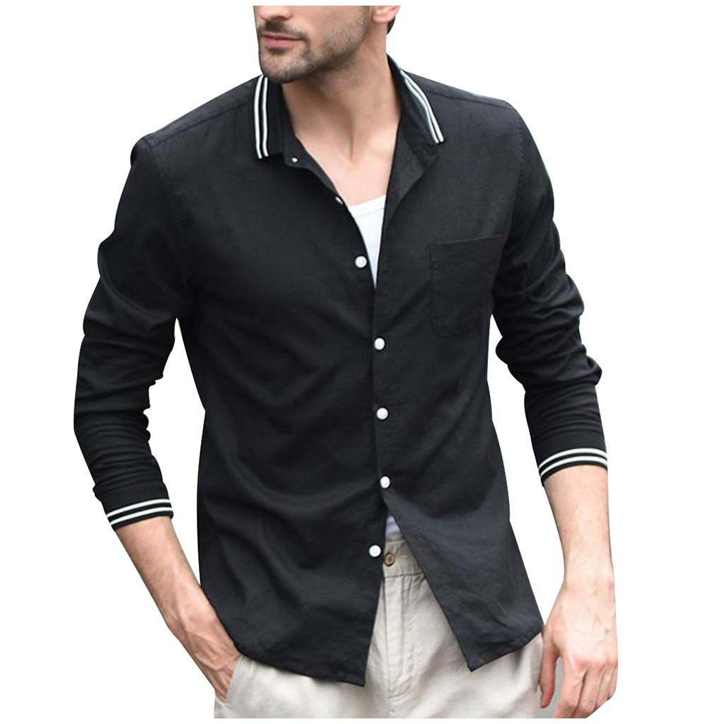 ZODOF camisa hombre camisas sport Casual Comodo Moda Retro Botón Suelto Manga larga Camisa Tops Blusa Moda para hombre camisa lino hombre(XXL,Negro): Amazon.es: Instrumentos musicales