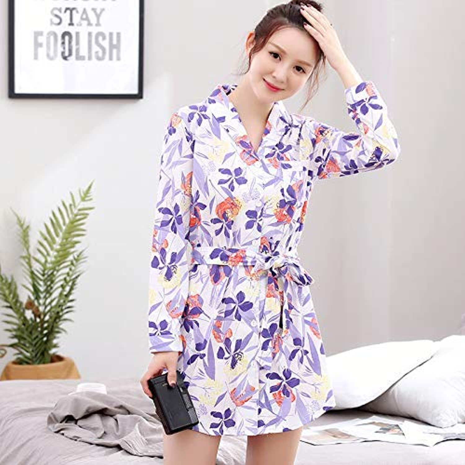 DALAI Long-Sleeved Nightdress Female Autumn Cotton Korean Version of The Skirt Home Service Spring and Autumn with Lapel Large Size Pajamas Skirt Sexy Cardigan (color   Purple, Size   L)
