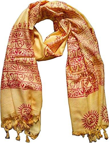 KVR OM AUM Mantra Krishna Buddha Ganesha Shiva yoga spiritual auspicious Hindu Religious Indian printed prayer scarf (Yellow-Shiva-1)