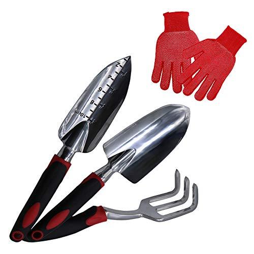 TSSM Garden Tools Set 4 Piece, Aluminum Heavy Duty Gardening Tool Kit Includes Trowel Gloves, Transplant, Cultivator Hand Rake Gifts Non-Slip Rubberized Grip Men and Women, Ergonomic Handle, Black Red