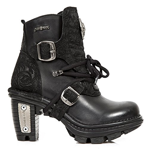 New Rock Womens M TR061 Neo Trail Gothic Black Leather Boots 37 EU