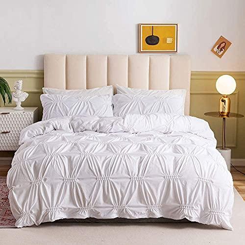 Funda de edredón plisada de lujo de 3 piezas con cremallera, funda de edredón Pintuck blanco suave de microfibra para adolescentes, adultos, mujeres, dormitorio, casa de campo con textura, tamaño King