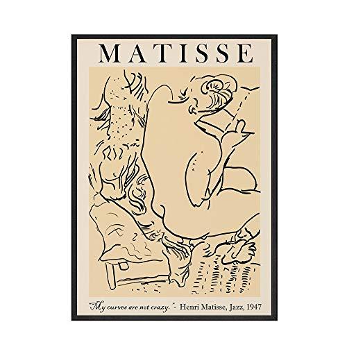 Picasso Matisse lienzo pintura impresiones abstractas cuerpo de niña flor cartel nórdico hogar sin marco lienzo pintura F 40x60cm