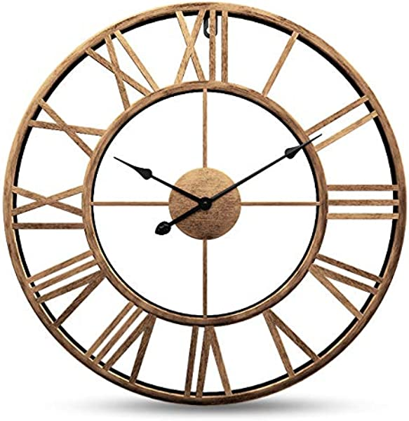 Yesee Silent Large Wall Clock Non Ticking Vintage Retro16 Inch 40cm Large Metal Indoor Wall Clock Battery Operated With Roman Numerals Wall Decor 16 Inch Metal