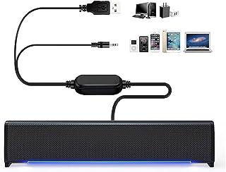 PC Luidsprekers, POMME Mini USB Computerluidspreker PC Soundbar met Coole LED Verlichting, PC Luidsprekers USB Aangedreven...