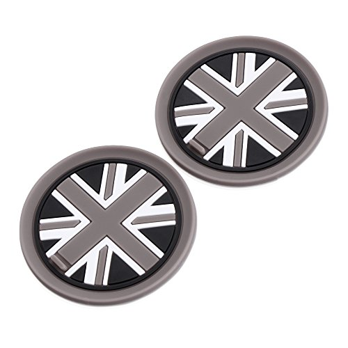 VCiiC (2) 73mm Black Union Jack UK Flag Style Soft Silicone Cup Holder Coasters for Mini Cooper R55 R56 R57 R58 R59 Front Cup Holders