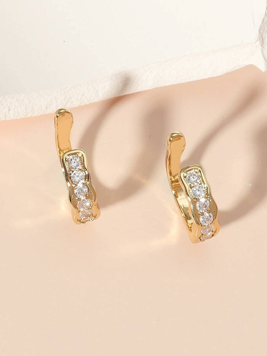 LCUY Hoop Earrings 1pair Zircon Decor Ear Cuff (Color : Gold)