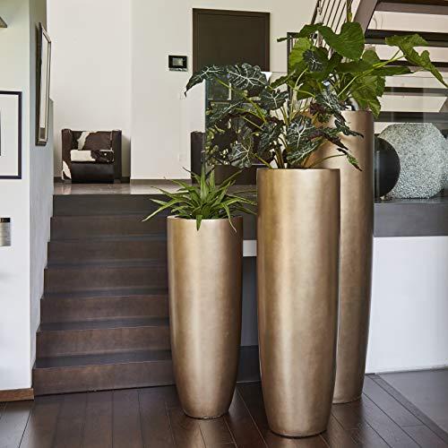 XXL Pflanzvase/Pflanzkübel – Hochwertig & Modern - Fiberglas - Mit Einsatz – Indoor – Garten Vase/Kübel - Pflanzengefäß - Höhe 120cm - Ø 46cm - Bronze
