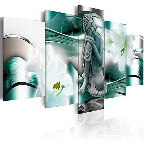 murando Cuadro en Lienzo Buda Zen SPA 200x100 cm Impresión de 5 Piezas Material Tejido no Tejido Impresión Artística Imagen Gráfica Decoracion de Pared Flores Naturaleza h-A-0028-b-n