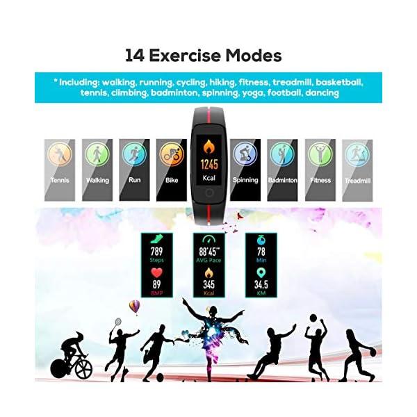 LATEC Pulsera Actividad [Última Versión], Pulsera de Actividad Inteligente Pantalla Color Reloj con Pulsómetro… 4