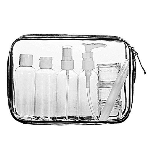 LUZWAY Trousse de Toilette Transparente + 8 Bouteilles Vide de Voyage pour Liquides (Max.100ml), Kit de Voyage pour l'Avion, Set de...