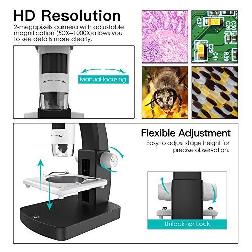 Soporte para Windows y Mac PC 4.3 Pulgadas TFT Pantalla,Bater/ía Recargable Blanco y Negro MoKo USB LCD Microscopio Digital con 2M HD Sensor de Imagen,50x-1000x Ampliaci/ón