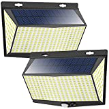 Nacinic Solar Lights Outdoor Garden 288 LED Outside Security Wall Light with Motion Sensor Solar Powered Waterproof 3 Modes (2 Pack)