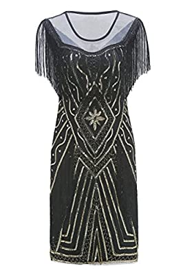 Metme Women's 1920s Gatsby Flapper Dress Retro Theme Fringe Dresses Wedding Evening Party