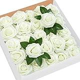 HB life 50pcs Roses artificielles pour bouquets de mariage Rose Artificielle Blanche Roses en Mousse polyéthylène pour Bouquets de Mariage centres de Table décoration de fête de Mariage (Blanc ivoire)