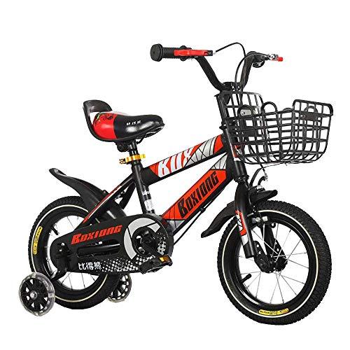 FUFU Niños Bici Bicicleta Niños 12/14/16/18 Pulgadas De Niños Y Niñas De Bicicletas, 2-13 Años De Edad con Ruedas Auxiliares, Rojo, Azul (Color : Red, Size : 12in)