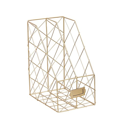 Besteffie Doppel-Gitter Eisen-Ablageregal für Schreibtischbücher, Zeitschriften, Organizer für Schreibtisch-Ordner, Gold,