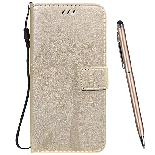 TOUCASA Hülle Kompatibel mit Huawei Honor Play, Handyhülle Brieftasche PU Leder Flip [Ständer Kartenfach] [Prägung] Hülle Handytasche Klapphülle Kratzfestes Schutz Lederhülle (Gold)