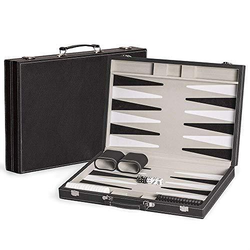 LOKE Backgammon Set in Pelle Backgammon di Gioco tra Cui Dadi e Coppe - Giocare in casa o Portare Il Vostro Viaggio,Nero