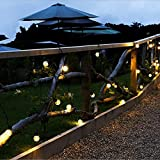 wangpu Cadena de luces solares LED al aire libre cadena de luces de jardín bola de cristal luces decorativas 4 modos de luz para decoración de patio de Navidad, patio, hogar, boda, fiesta