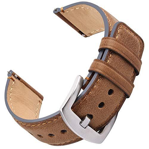 Fullmosa Correa de Reloj 22 mm, Correa de Cuero de Liberación Rápida de 22 mm, Correa de Repuesto para Hombres/Mujeres, Correa para Samsung Galaxy Watch/Huawei Smart Watch/Fossil Watch