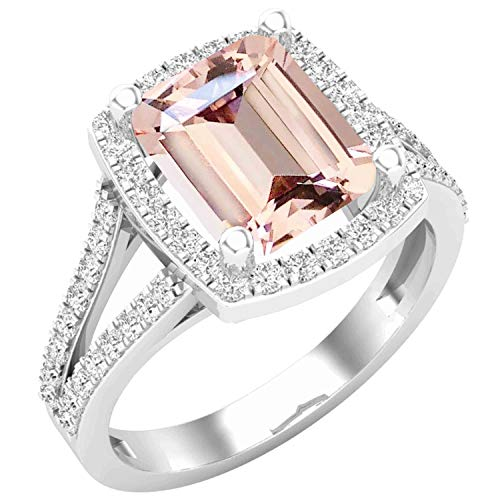 Dazzlingrock Collection 9X8 MM Octagon Morganite & Round White Diamond Ladies Bridal Halo Engagement Ring, Sterling Silver, Size 6