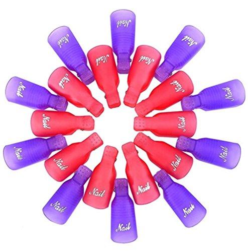 Demarkt 20 pcs Ongle Outil Plastique Capuchon Pinces/d'ongle/Soak Off Clip Cap Clips Ongles Rouge Violet