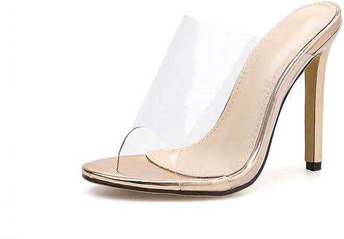 EGS-chaussures Sandales à Talons Hauts en Champagne Blanches Chaussures de Cricket (Couleur   Champagne, Taille   39)
