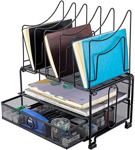 Ljfjf Malla de escritorio escritorio ordenado Versátil A4 Archivo Clasificador Revista Titular carpeta de almacenamiento de presentación de la bandeja con los efectos de escritorio organizador del caj