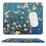 Gaming Mauspad - Vernähte Kanten - 250 x 300 mm - Mousepad mit rutschfeste Gummibasis - Mauspad mit Motiv Klein - Blau Mandelblüte Mouspad für Laptop, Computer & PC - Büro/Zuhause