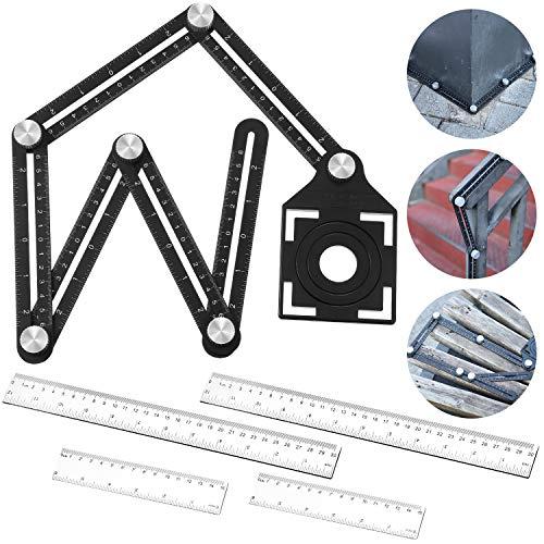 Mehrwinkel-Messlineal, sechsseitiges Messwerkzeug, Aluminiumlegierung, Lineal mit mehreren Winkeln und 4 Stück 30,5 cm und 15,2 cm Kunststoff-Lineale für Bauarbeiter, Handwerker, Tischler