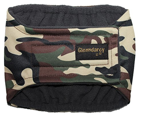Glenndarcy Couches de Chien mâle - Incontinence urinaire - (XS Band and 2 Washable Pads, Camouflage)