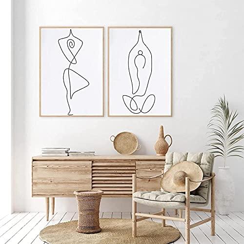RuiChuangKeJi Poster Artworks - Póster (2 unidades, 40 x 60 cm), diseño de chica abstracta de yoga con líneas corporales